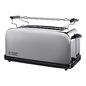 Russell Hobbs 23610-56 Toaster Grille Pain Adventure 2 Longues Fentes Spécial Baguette 6 Niveaux Brunissage, Chauffe Viennoiserie