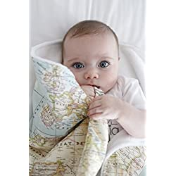 Arrullo bebé supersuave recien nacido 10 estampados by Mimuselina (Mapamundi) o mapa mundi - mundo