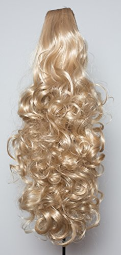Elegant Hair - 56 cm / 22 pouces queue de cheval frisé – Blond de cendre -Clip-in pièce de extensions de cheveux réversible - Avec griffe-clip - 30 Couleurs - 250g