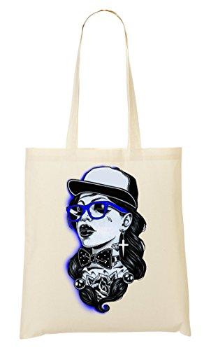 Old School Lady Full Cap Black Tragetasche Einkaufstasche