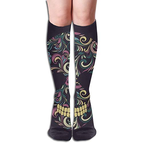 Skull Swirl Ornamental Comfortable Adult Knee High Sock Gym Outdoor Socks 50cm 19.7inch -