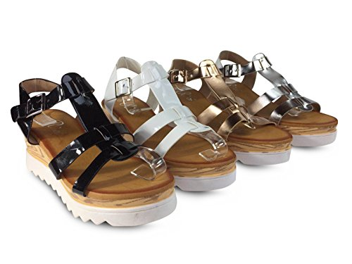 Damen Sandalen Keilabsatz Plateau Wedge Sandaletten Glanz Metallic ST557 Weiß