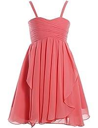 Fashion Plaza Mädchen kurz Chiffon Blumenmädchenkleid mit Kaskade Rüsche K0130