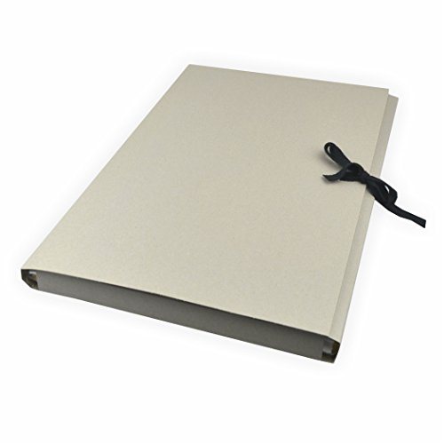 Sammelmappe aus Graupappe, DIN A2 ohne Druck, mit Band Karton grau mit 3 Klappen bis zu ca. 200 Blatt a 80g/m²