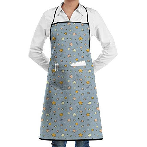 Desing shop Galaxy Blue Grill Aprons Kitchen Chef Bib BBQ, Baking, Cooking for Men Women / 100% Cotton, Adjustable 2 Pockets 28 X 20 Inch
