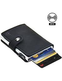Dlife Tarjetero RFID Cartera Crédito, Cartera de Aleación de Aluminio Multiuso Bolsillos, Cuero PU Exterior Automáticas Desplegables para Hombres y Mujeres (Negro)