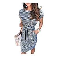 DUe Women Stripes Short Dress Fitness Tunic Crew-Neck Short Dress Black M