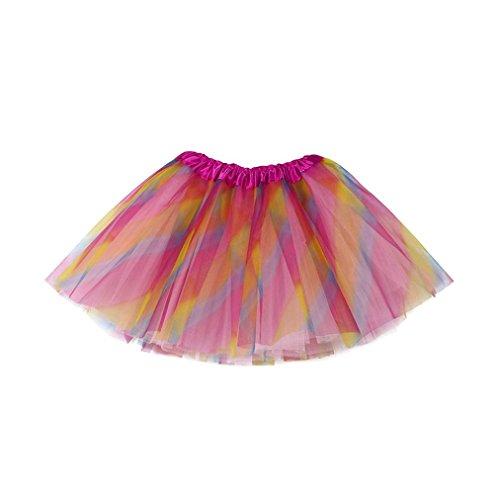 er Petticoat Regenbogen Pettiskirt Bowknot Rock Tutu Kleid Dancewear Mädchen Tanzkostüme Tanzkleidung (3-10Jahre, Multicolor) (Kleinkind-reh-kostüm)