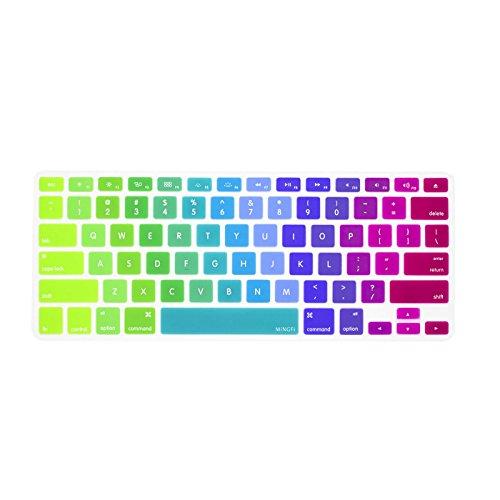 MiNGFi Englisch Tastatur Silikon Schutz Abdeckung QWERTY für MacBook Pro 13, 15, 17 Air 13 Zoll US/ANSI Keyboard Layout Silicone Cover - Rot zu Grün (- Tastatur-abdeckung Macbook Air 13inch)