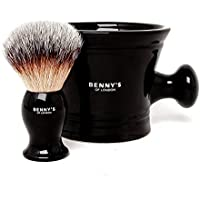 SHAVING BRUSH & BOWL GIFT SET - From Benny's of London - Our Best Selling Shaving Brush with the Ceramic Black Mug for Lathering Shave Soap and Cream - Perfect Present and Gift Set for Men