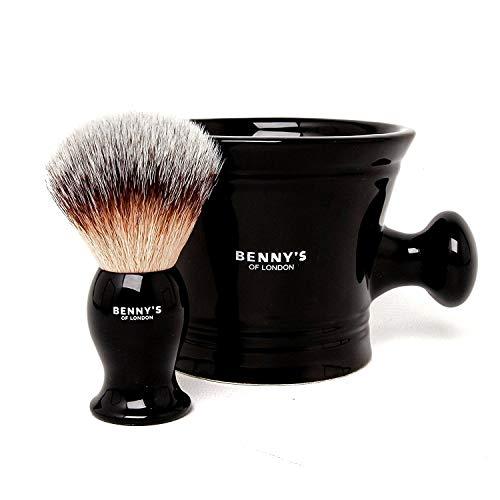 RASIERBÜSTE & SCHÜSSEL GESCHENKE SET - Von Benny\'s of London - unsere bestverkaufte Rasierbürste mit der Keramik schwarzen Tasse für das Schlagen der Rasierseife und Creme