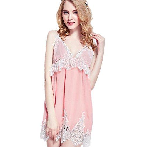 DMMSS Damen Pyjama Seide Bademantel Edlen Riemen-Rock Pink