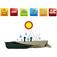 Heavy Duty H2o Canoe Kayak Cover for boats up to 12.6 Foot Premium Coated 600 D Polyester Small