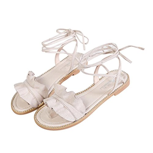 BZLine® Frauen Summer Office Low Heel Casual Lace-Up Shoe Sandalen Weiß