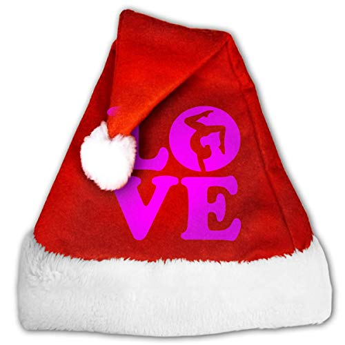 Hwgss Love Gymnastics-2 Christmas Hat, Red&White Xmas Santa Claus' Cap for Holiday Party Hat,Size: Small