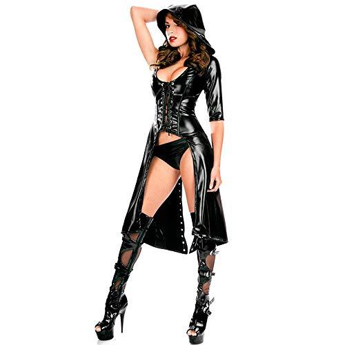 DQYFZQ Damen Lackleder aus Kapuzenpullover für Bodys für Nachtclub,S