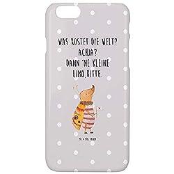 Mr. & Mrs. Panda Handy, Cover, iPhone 6 / 6S Handyhülle Nachtfalter mit Fähnchen mit Spruch - Farbe Grau Pastell