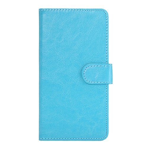 Iphone Case Cover, 5.3-5.5 pollici universale crazy horse texture 360 gradi girevole custodia per trasporto con fermo e slot per Samsung Galaxy Note I / II / III / IV Ultra Thin Slim con Bordo Prote Baby Blue