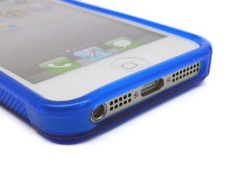 Kit Me Out DE TPU-Gel-Hülle für Apple iPhone SE / 5S - Rauchiges Schwarz S-förmiges Wellenmuster Blau S-förmiges Wellenmuster
