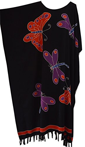 Dress Long Ladies Cover Beach Night gown One Size Cool Kaftans (Black) ()