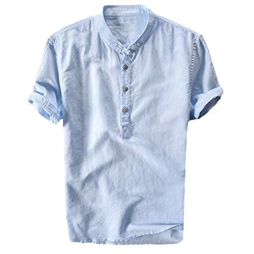 Fannyfuny Basic Polokragen Hemd Herren Poloshirt Kurzarm Tee Sommer T-Shirt Men\'s Polo Shirt Männer Revers Atmungsaktiv Quick-Dry Baumwolle und Leinen Kurzarm T-Shirt Tops Oberteil Lose Bequem M-XXXL