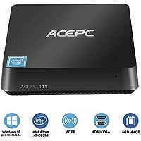 ACEPC Mini PC Windows 10 Pro Intel Atom x5-Z8350 Processor 4GB RAM 64GB ROM EMMC Support 2.5 Inch SATA SSD/HDMI & VGA Dual Output/Dual Band Wi-Fi/Bluetooth 4.0/4K Micro Desktop Computer