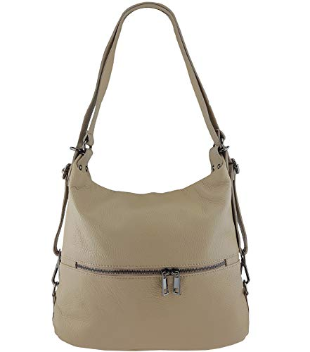 Freyday 2in1 Handtasche Rucksack Designer Luxus Henkeltasche aus 100% Echtleder (Taupe) - Taupe Strauß