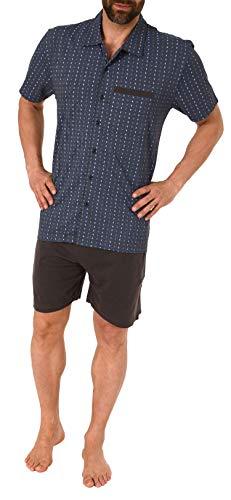 NORMANN WÄSCHEFABRIK Eleganter Herren Shorty Pyjama Kurzarm zum durchknöpfen - auch in Übergrössen bis Gr. 70-191 105 90 512, Größe2:58, Farbe:dunkelgrau