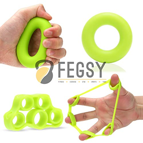FEGSY Silicon Finger Stretcher, Hand Grip Exerciser, Palm Strengthener for Athletes, Musicians, Therapy, and Stress Relief (Set of 2, Multi Color)
