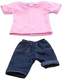 18 pulgadas de ropa de muñecas rosa casual camiseta y pantalones vaqueros juego de ropa de American Girl