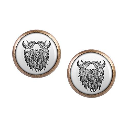 ar mit Motiv Bart Mustache Vollbart Tattoo bronze 12mm (Schnurrbart Halloween-kostüm Ideen)