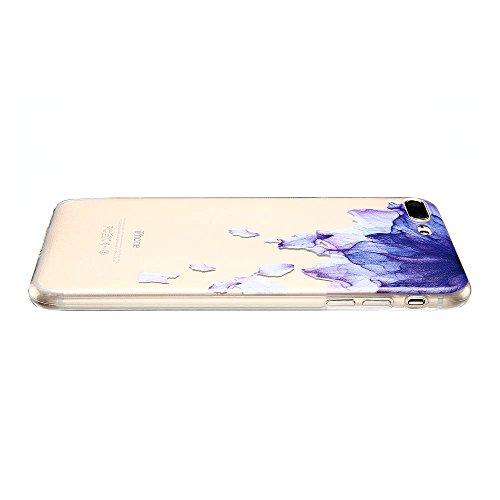 Coque iPhone 7 Plus (5.5 pouce) , TPU Transparente Noir Dentelle Case Slim Souple Étui de Protection Soft Cover Anti Choc Ultra Mince Silicone Couverture Motif Design Bumper Gel Anfire Housse pour iPh Violet Fleur