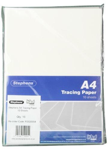 Stephens RS520054 Pauspapier, 10 Kopfleistenbeutel a 10 Blatt zum Durchpausen geeignet