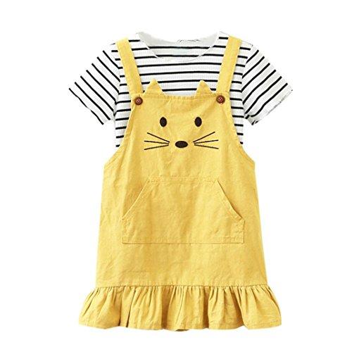 Kleider mädchen Hirolan Kinderkleidung Baby Mädchen Gestreift T-Shirt Tops Katze Drucken Prinzessin die Röcke Outfits Set Rosa Gurt Kleid (140cm, (Fancy Kleid Ideas Kinder)