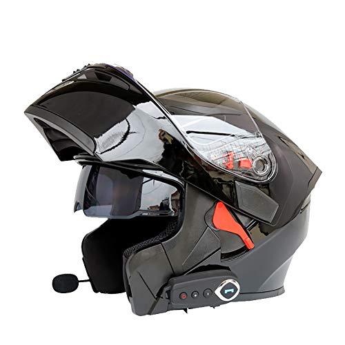 ZNDDB motorradhelm - Kann Das Telefon beantworten/Musik / Navigation/Bluetooth-Helm, Vier Jahreszeiten Universal, Elektroauto/Motorradhelm, 550 mAh hören,Black,XL
