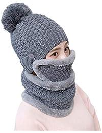 e16436896225 Boomly Femmes Hiver Bonnet tricoté Écharpe en Boucle Protège-Dents Chapeau  Earflap Chaud Bonnet à