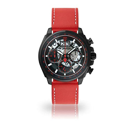 DETOMASO LIVELLO Men's Wristwatch Chronograph Analogue Quartz red Leather Strap Black dial DT2060-B-906