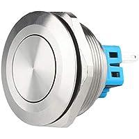 10 Pedazos JSANKG-13 Azul Larcele Pulsador de 12mm Mini Bot/ón Moment/áneo Impermeable del Metal con el Terminal de Tornillo