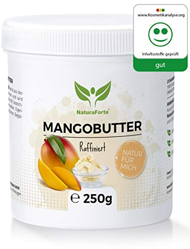 NaturaForte Mango-Butter 250g, Natur-Kosmetik, Pflege Vegan, Body-Butter, Spendet Feuchtigkeit -