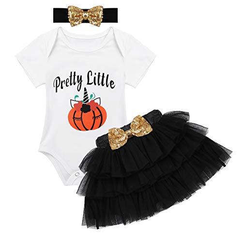 (iixpin Baby Mädchen Halloween Kürbis Outfit 3 Stück Langarm Strampler + Tütü Rock + Stirnband Set Halloween Karneval Fasching Kostüm Geschenk Schwarz 68-74)