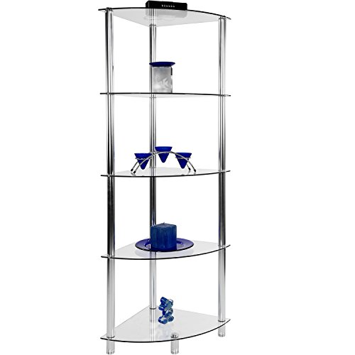 STILISTA Designer Eckegal, (H) 137 cm x (B) 40 cm, 5 Ebenen, 5mm Sicherheitsglas, Aluminium Tubes verchromt (Glas-metall-bücherregal)
