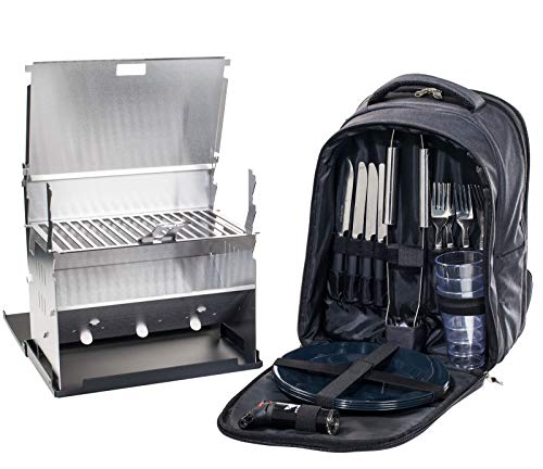 FENNEK Backpack Grill im Set, Picknick-Rucksack, Camping, Trekking, Wandern, Outdoor, mit Kühlfach und Zubehör für 4 Personen, Camping Grill