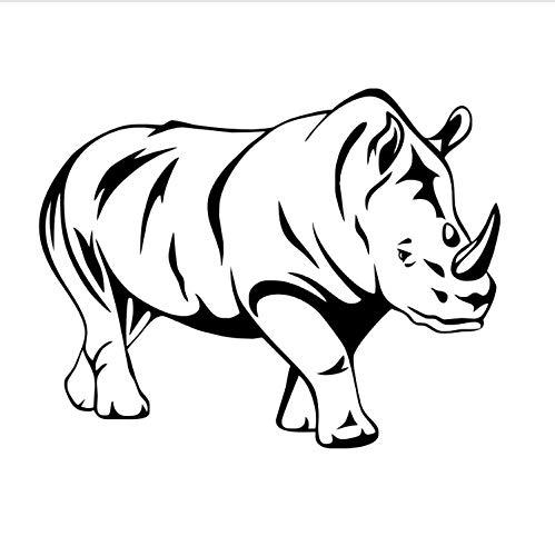 xmydeshoop Schwarz Rhino Wandaufkleber Für Kinderzimmer Aushöhlen Tier Vinyl Abnehmbare Kunst Wandtattoos Wohnzimmer Dekoration 58X74 cm