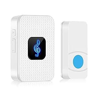 Wireless Doorbell, Wall Plug-in Door Chime IP55 Waterpoof Portable Doorbell Kit Mini Door Entry Bell with 1000ft Range, 55 Melodies, 5 Volume Levels & LED Flash