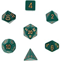 Polyhedral 7-Die Opaque Dice Set - Dusty Green with Copper (d4, d6, d8, d10, d12, d20 & d00)