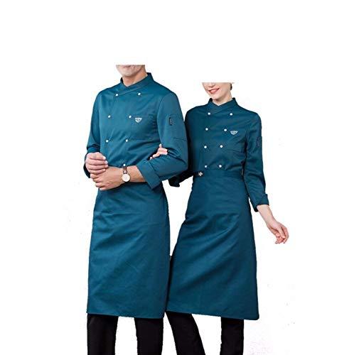 Juabc Unisex Küchenchef Uniform Langarm Mantel Und Schürze Restaurant Uniform Hemd Kleidung Bäckerei Unter Koch Mantel Shouider 47,5 cm Fehlschlag 114 cm Taille 110 cm Länge 75 cm (B)