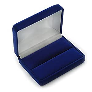 Luxury Blue Velour Wedding Two Ring Box (Rings Are Not Included)