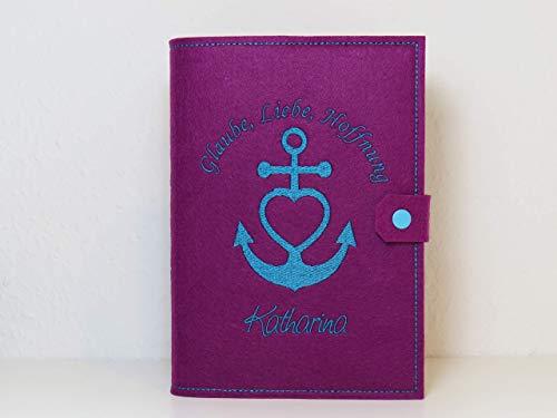 Bibelhülle - Buchhülle - individuell bestickt - personalisiert - Glaube, Liebe, Hoffnung - Kommunion - christliches Geschenk