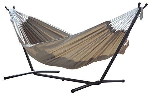 Vivere c9suns amaca con supporto brasiliana sunbrella, 280 cm, portata 200 kg, sabbia doppia