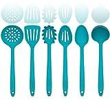 Cielo Aqua Set di utensili da cucina in silicone - nucleo interno in acciaio robusto - spatola, miscelazione e cucchiaio scanalato, mestolo, server di pasta, scolapiatti